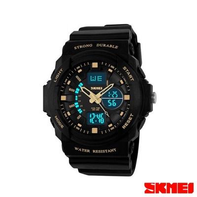SKMEI時刻美 雙機芯多功能運動電子錶-金指針