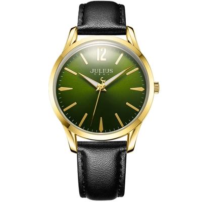 JULIUS 聚利時 微星綻耀彎針設計皮帶腕錶-暗夜綠/39mm