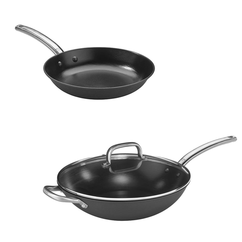 Pujadas西班牙輕量鑄鐵炒鍋(附蓋) 32cm+平底鍋20cm