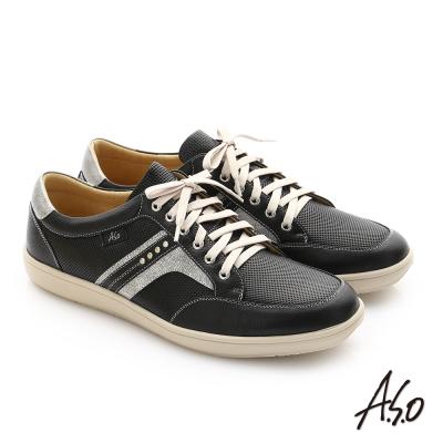 A.S.O 摔花牛軟皮綁帶奈米休閒鞋 黑色