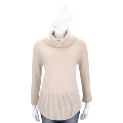 Max Mara-WEEKEND 膚色織紋拼接高領羊毛針織上衣(100%WOOL)