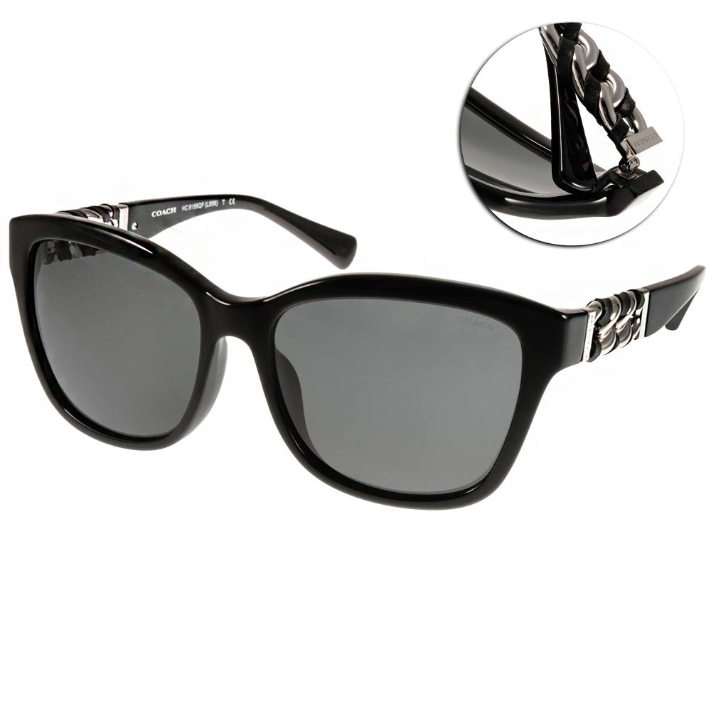 COACH太陽眼鏡 貓眼鎖鏈款/黑-銀#COS8156QF 500211