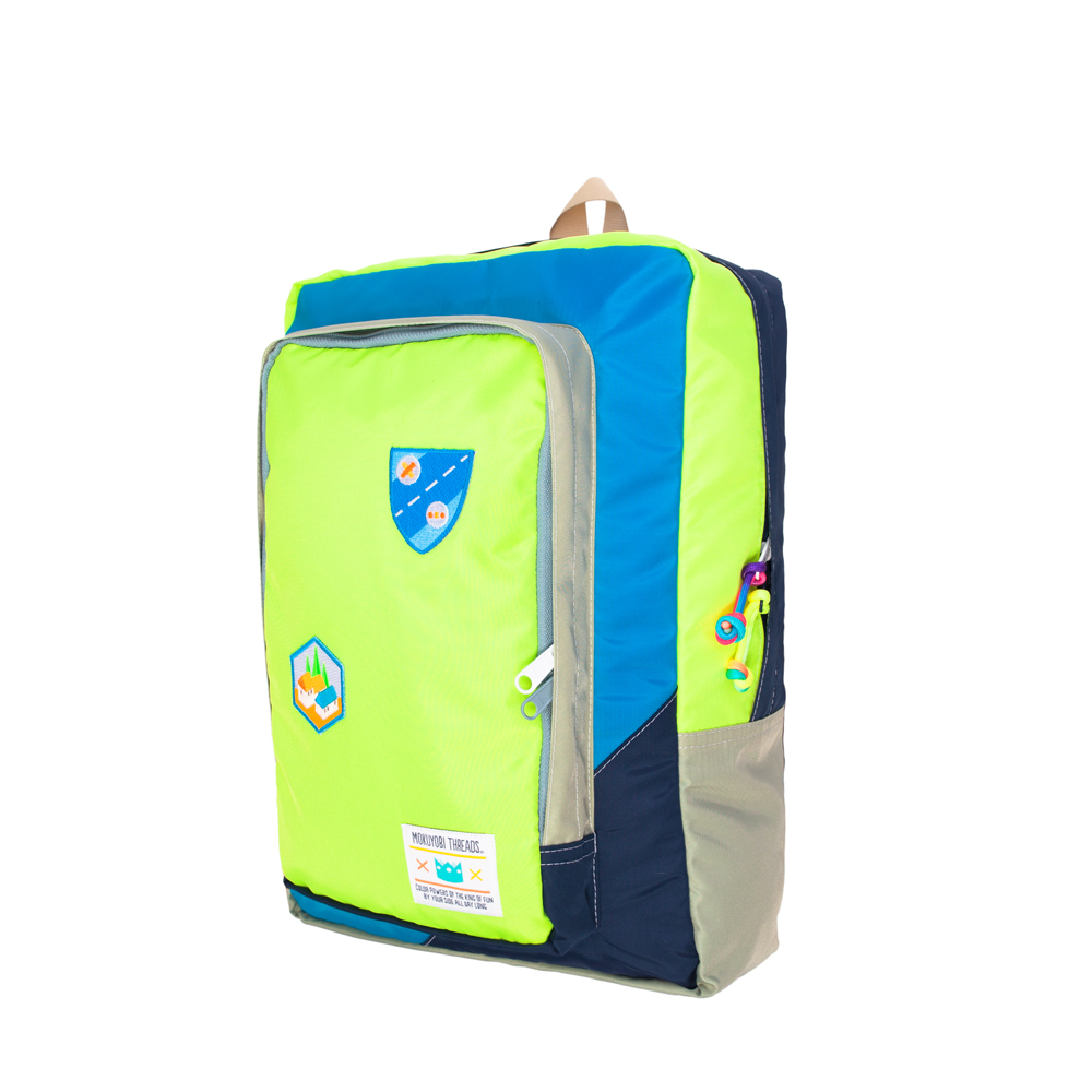 MOKUYOBI/Flyer Packs/L.A空運旅行必備多功能筆電電鏽章後背包-螢光黃