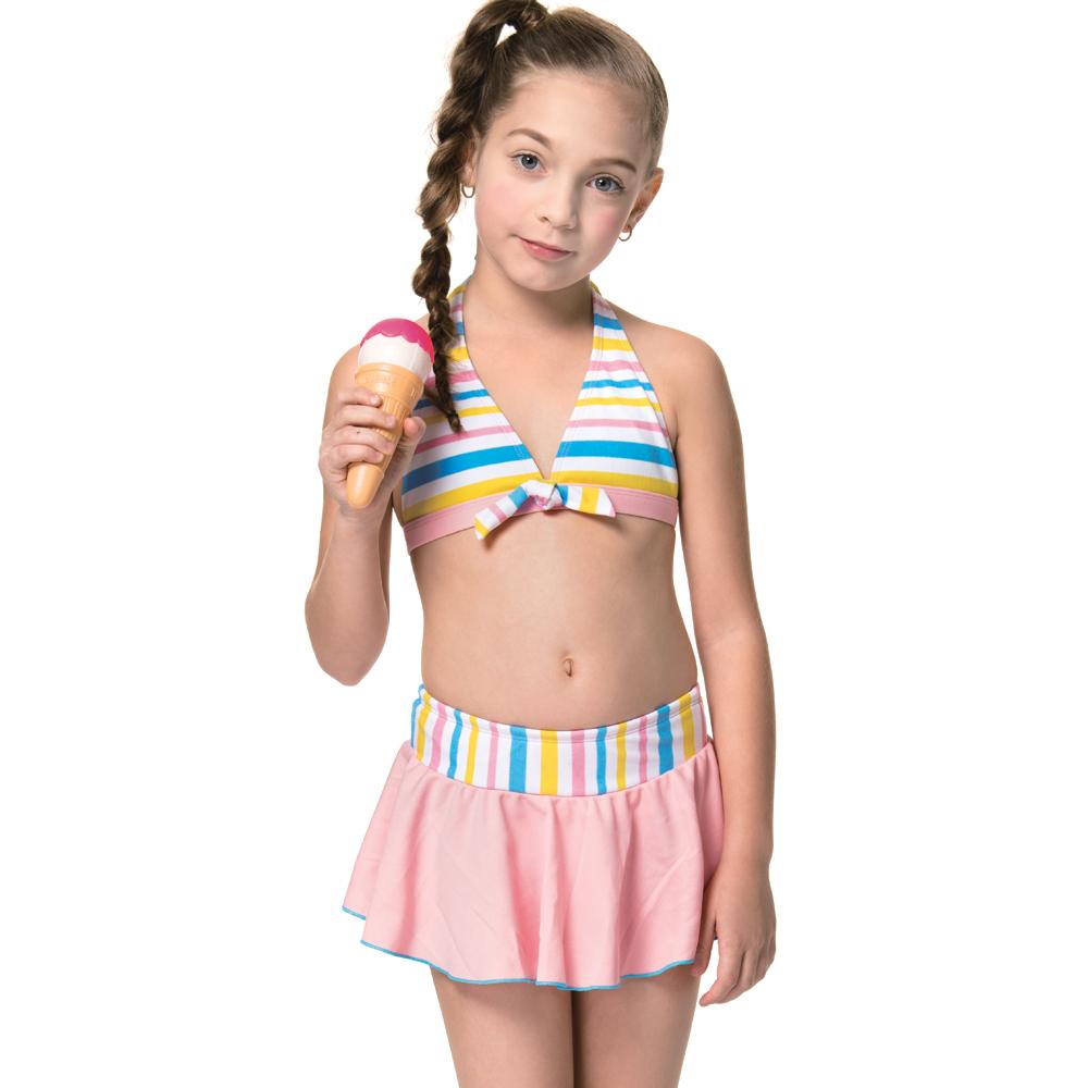 沙兒斯 兒童泳裝 橫紋兩件式比基尼女童泳裝