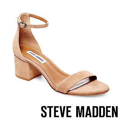 STEVE MADDEN-IRENEE 真皮一字繞踝粗跟涼鞋-棕色