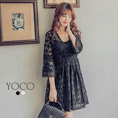 東京著衣-yoco V領質感星星蕾絲長洋裝-S.M.L(共二色)