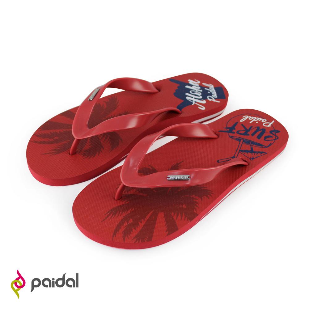 Paidal 男款不對稱印花足弓夾腳拖人字拖鞋-深紅