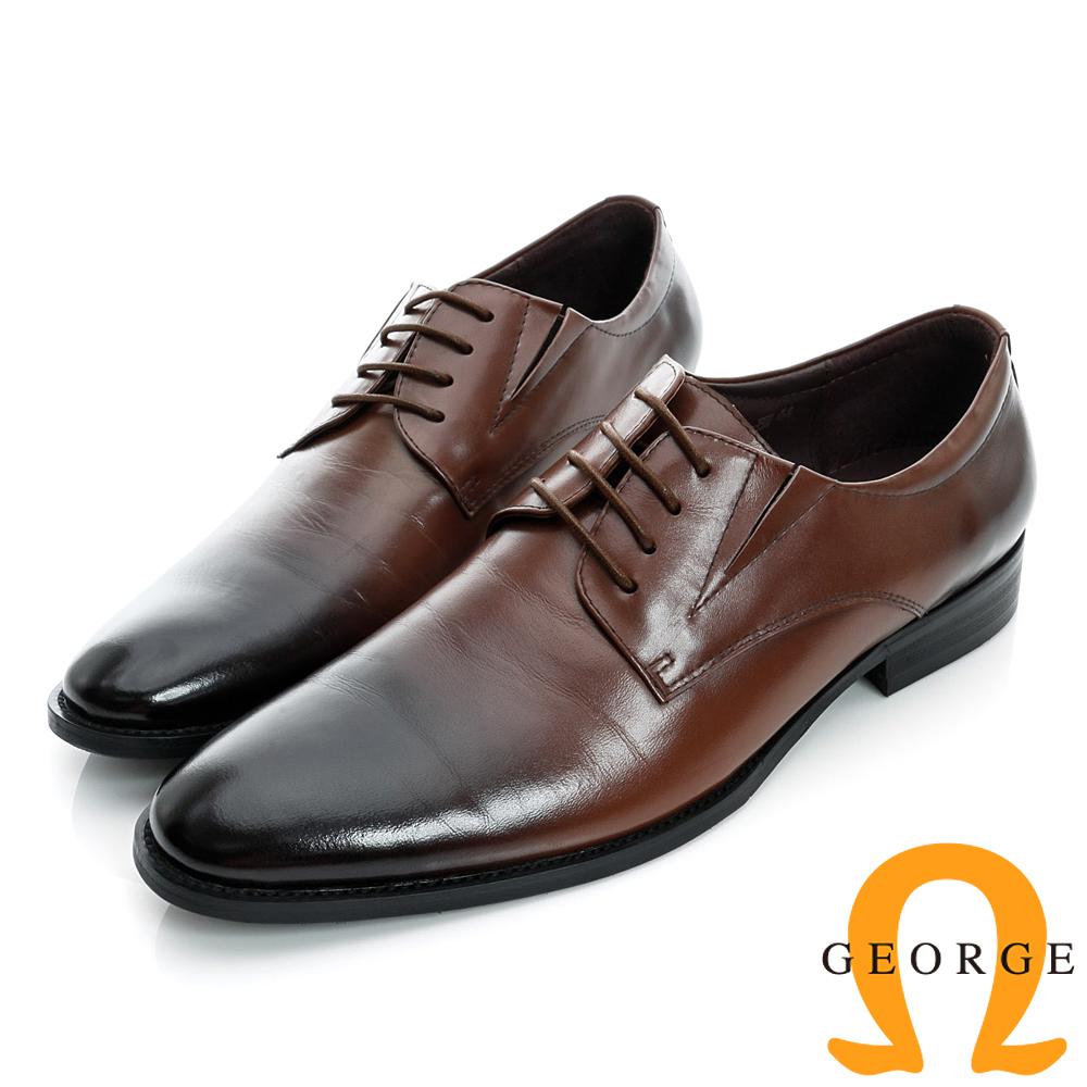 GEORGE-側V切口經典素面綁帶真皮紳士皮鞋-棕色
