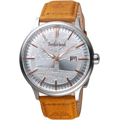 Timberland日間燦爛時尚腕錶(TBL.15260JS 04)-45mm/銀x黃棕