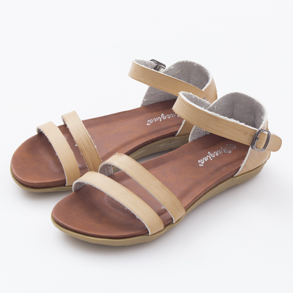 JMS-極簡風牛皮質感線條平底涼鞋-杏色