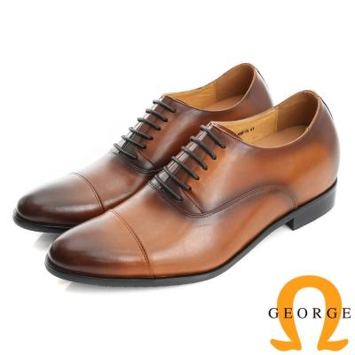 GEORGE 喬治-內增高系列 素面真牛皮革紳士鞋皮鞋(男)-棕色