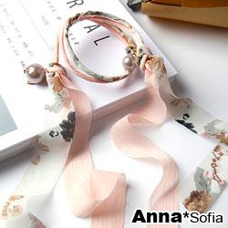 【3件480】AnnaSofia 韓國花紋雪紡緞帶 盤髮棒盤髮器髮圈(粉白系)