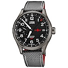 Oris豪利時 GMT Rega 空中救援雙時區限量機械錶-黑x灰錶帶/45mm