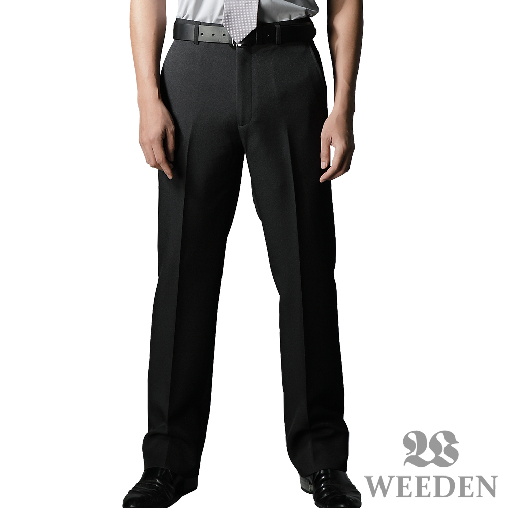 【WEEDEN】精緻質感暗斜紋平面西褲‧簡約黑(兩件組)