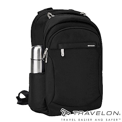 【Travelon美國防盜包】 防割鋼網經典電腦商務旅遊後背包TL-43114Z1-16黑