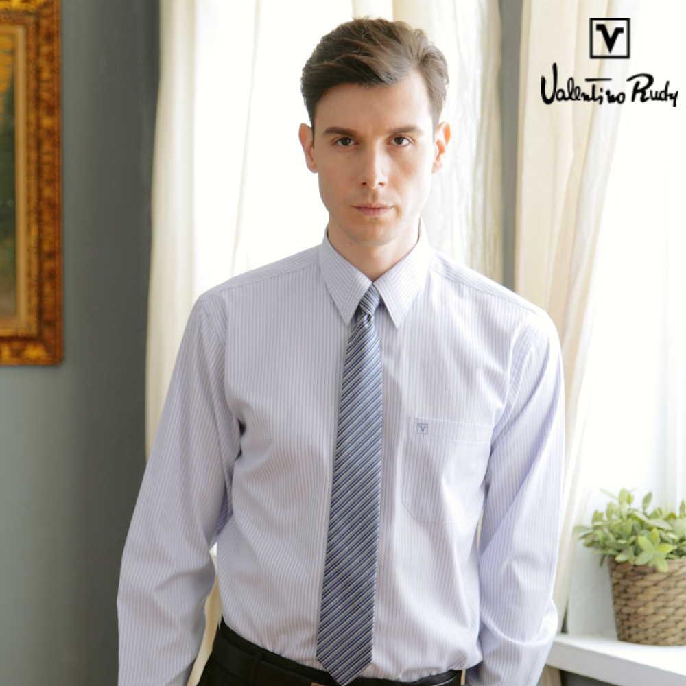 Valentino Rudy范倫鐵諾.路迪-長袖襯衫-水藍直條-暗釘釦