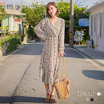 東京著衣 浪漫迷人V領傘擺碎花洋裝-S.M(共二色)