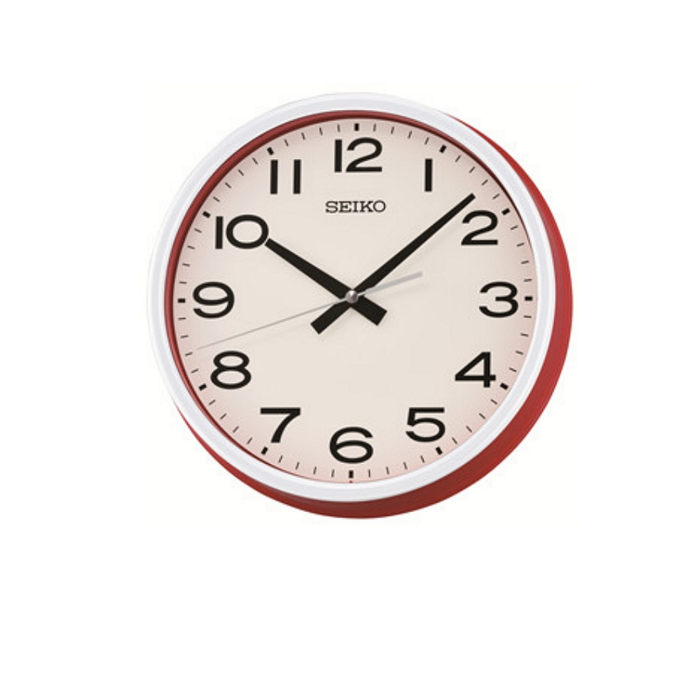SEIKO 普普風 滑動式秒針 靜音掛鐘-紅框/25.5cm