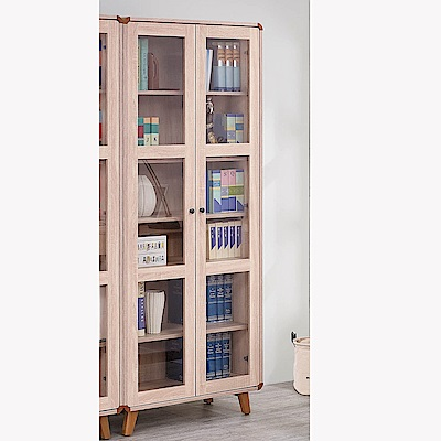 H&D 柏克2.6尺玻門書櫥 (寬81X深38X高192cm)