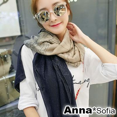 AnnaSofia 灑點舞線款 拷克邊韓國棉圍巾披肩(駝藏藍系)