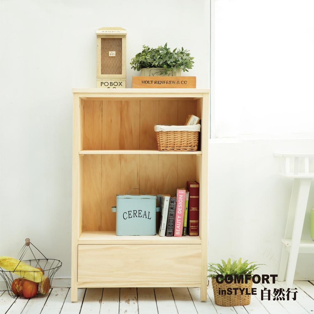 CiS自然行兒童家具 書櫃一抽-原木中書櫃(水洗白色)