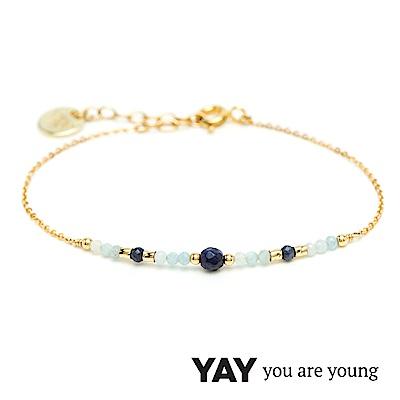 YAY You Are Young 法國品牌 Cleo 藍寶石手鍊 平衡墜設計 金色