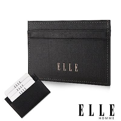 福利品 ELLE 法式精品防刮紋系列 頭層皮耐磨防刮簡易攜帶型證件夾- 黑色