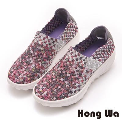 Hong Wa 繽紛亮麗編織厚底休閒鞋-粉