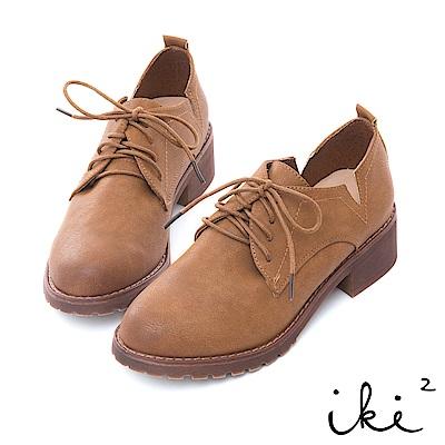 iki2 舒適粗跟造型側V切口休閒鞋-褐
