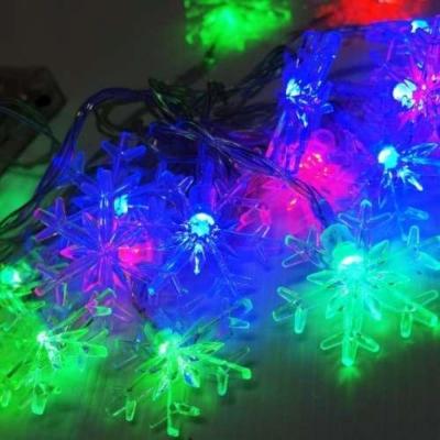 聖誕燈LED20燈透明雪花電池燈(彩光)(高亮度又環保)