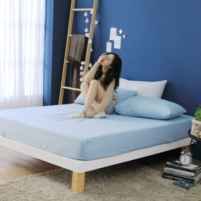 GOODDAY-悄悄話(藍)-纖絨棉-防蹣系列-床包 (105x186cm)