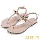 ORIN 夏日時尚風 大圓點金箔T字牛皮夾腳涼鞋-粉紅