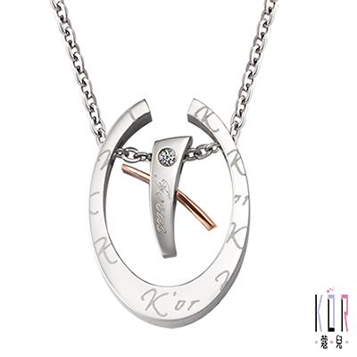 K'or蔻兒 愛的聚焦 0.01克拉鑽石 白鋼女項鍊-白