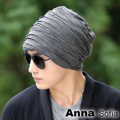 AnnaSofia-波浪織捲紋-保暖針織毛線毛帽-深灰