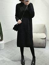 時尚氣質口袋針織連身裙