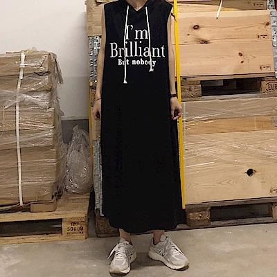 La BellezaImBrilliant無袖英文字抽繩連帽棉質背心洋裝