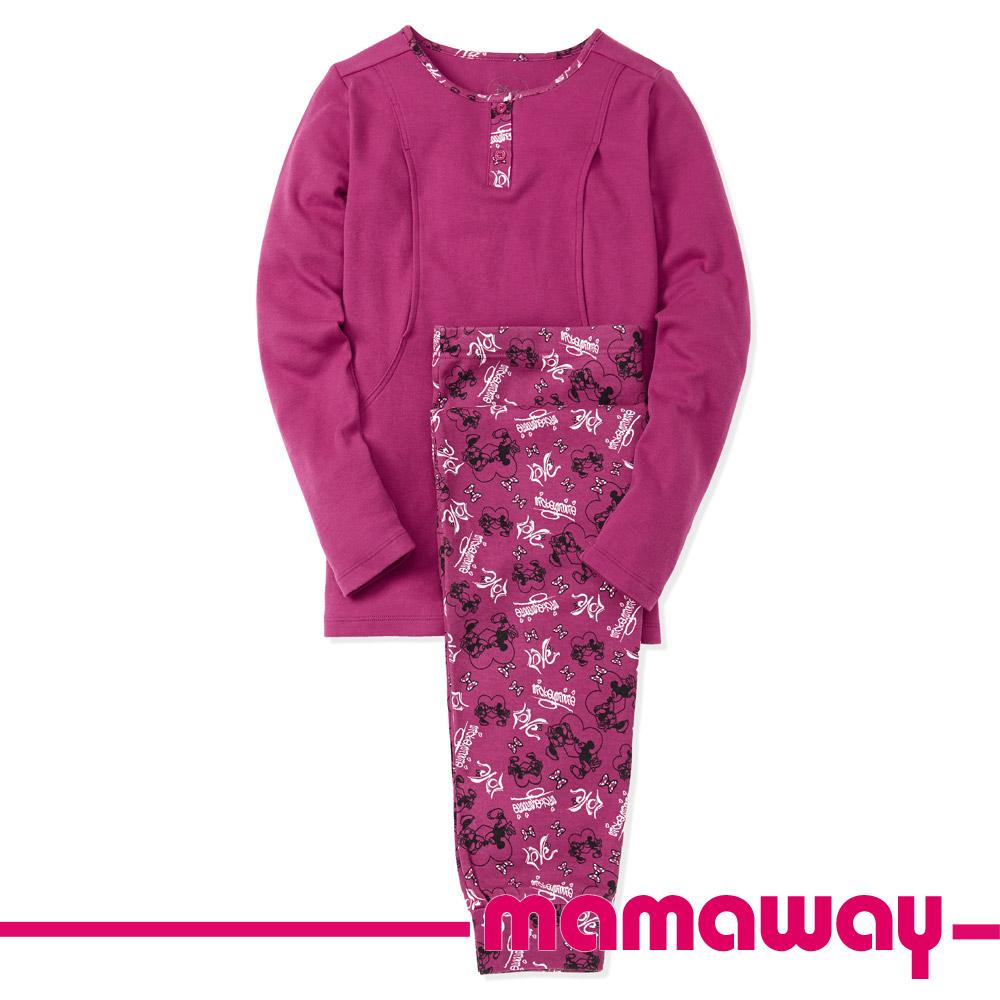 Mamaway 蝴蝶結米妮孕哺居家服組(長袖+長褲) 桃紅色