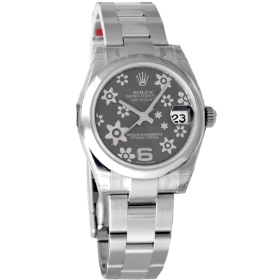ROLEX 勞力士 178240 Datejust 新款立體灰小花腕錶-灰/31mm