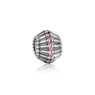Pandora 潘朵拉 桃紅水鑽曲線轉軸珠 純銀墜飾 串珠