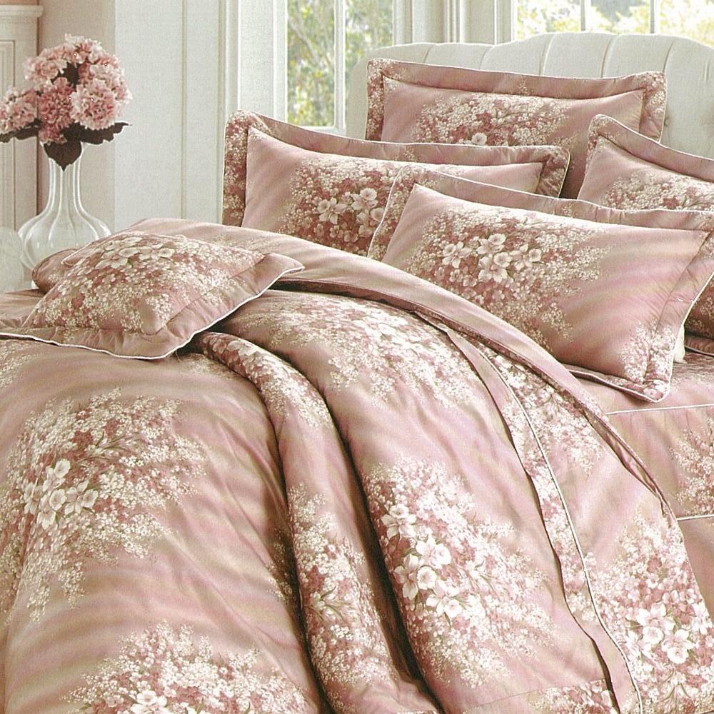 eyah宜雅 全程台灣製100%精梳純棉雙人加大床罩兩用被全舖棉五件組 浪漫花語