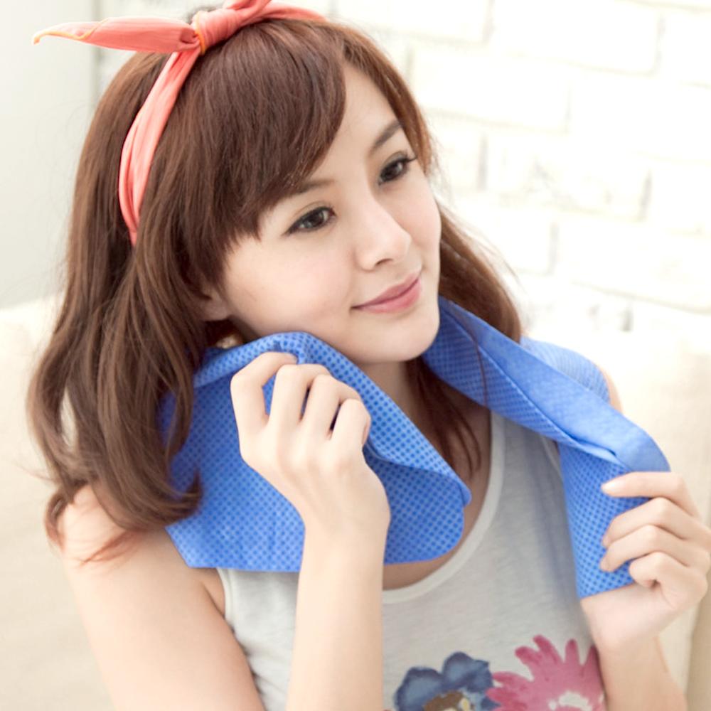 CooFeel 超值2入瞬間涼感多用途冰涼巾領巾(大)-藍色