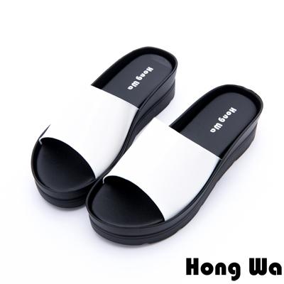 Hong Wa - 極簡時尚休閒厚底拖鞋 - 白