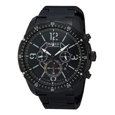WIRED 飛越天際三眼計時腕錶(AW8003X1)-黑/46mm