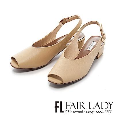 Fair-Lady方頭設計露趾繞帶式粗跟涼鞋-黃