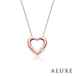 A-LUXE 亞立詩 Petite系列 The Heart 玫瑰金金美鑽項鍊