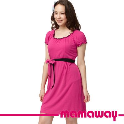 Mamaway-配色滾邊孕哺小洋裝-共二色