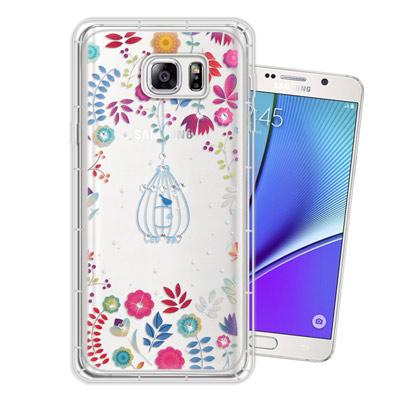 WT Samsung Galaxy Note5 奧地利水晶彩繪空壓手機殼(鳥羽花...