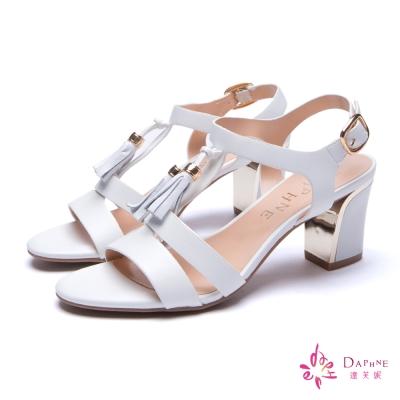 達芙妮DAPHNE-率性時尚復古流蘇扣踝粗跟涼鞋-時尚白