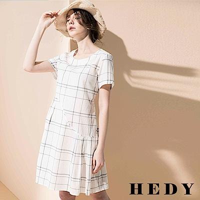 Hedy赫蒂 側百褶拼接格紋洋裝(共二色)