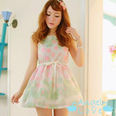 【Angel Love】珍珠鑲鑽領歐根纱印花洋裝 (共二色)